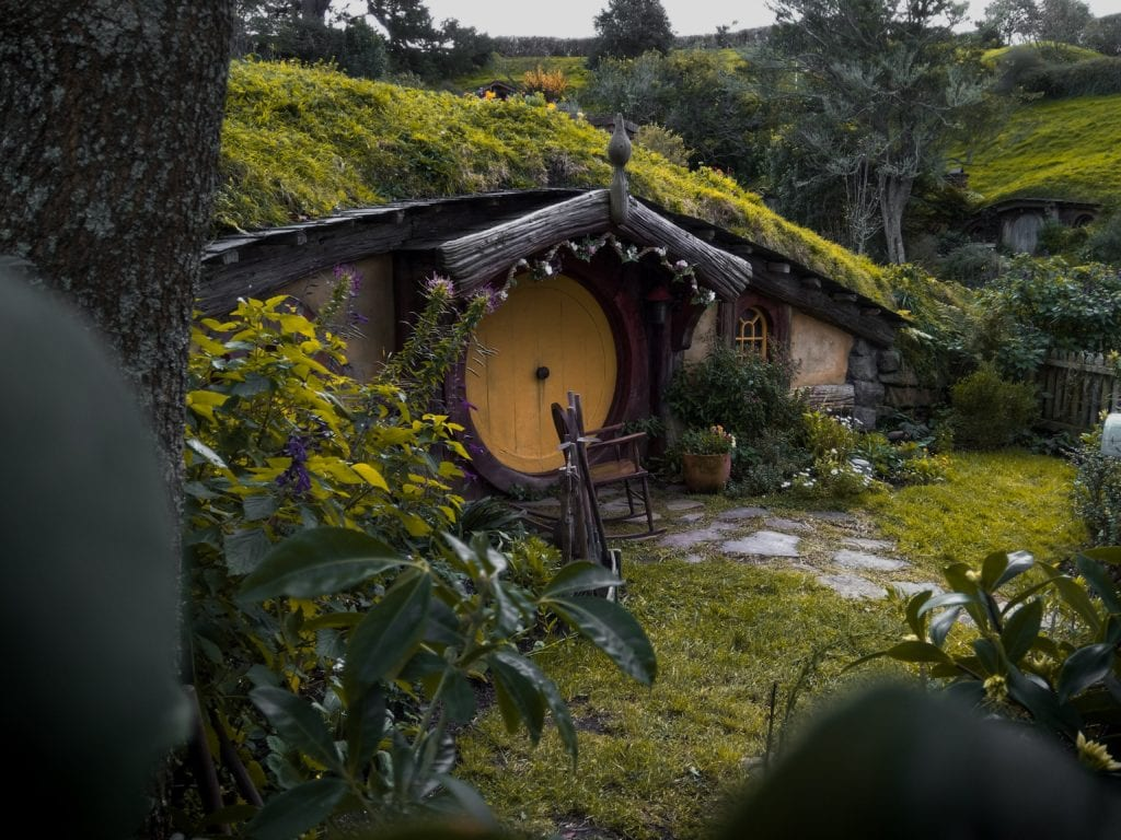 The hobbit shire in New Zealand which is where the Lord of the Rings trilogy was shot